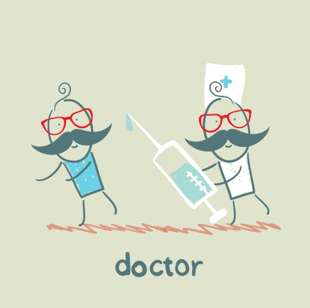 doctor symbol: Doctor runs to a syringe for patient
