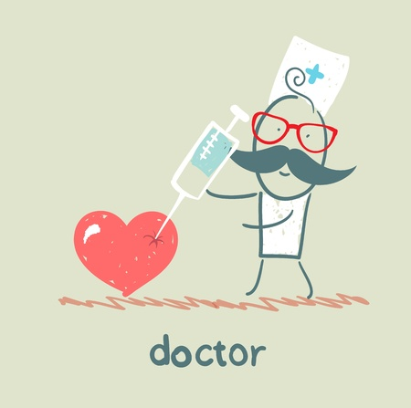Doctor with a syringe pricks the heart Vector
