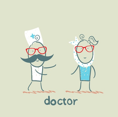 medical art: Doctor and patient with the tooth