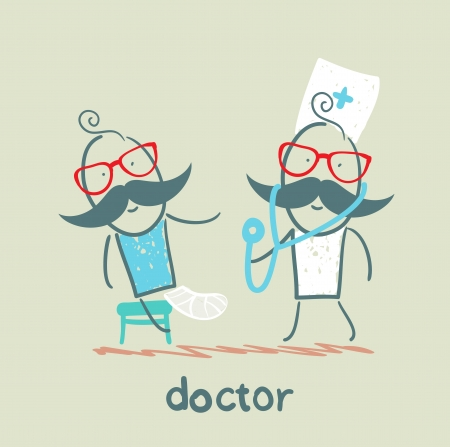 pierna rota: Doctor con un enfermo, la pierna rota Vectores