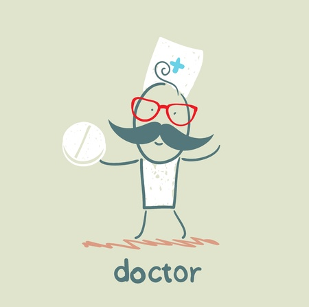 Doctor with tablet Vector