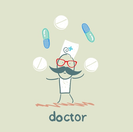juggles: Doctor with tablets and pills