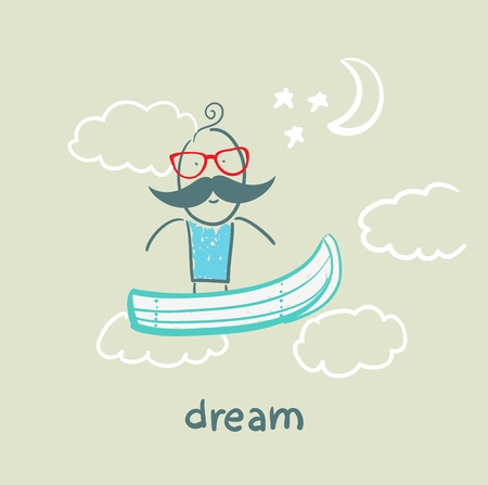 flying boat: hombre volando en un barco de ensue�o Vectores