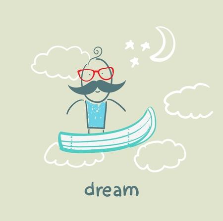 flying boat: man flying in a dream boat
