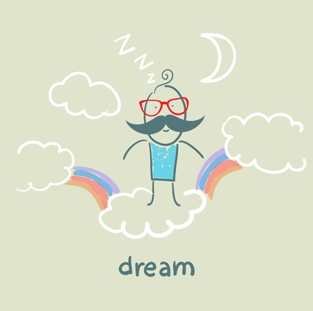 man flying in a dream clouds with rainbows Vector