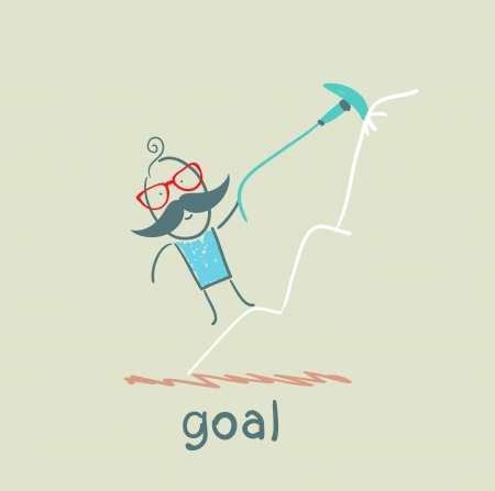 a man climbs to the target at the top of the mountain on the arrow Vector
