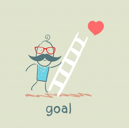 man climbs the stairs to the goal Vector