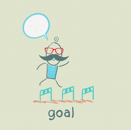 man running with obstacles to the goal