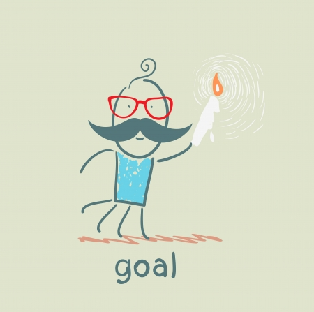 man walks with a candle to the goal Vector