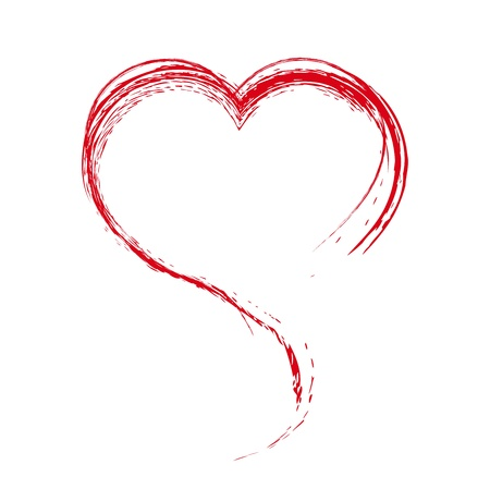 Heart. Painted with a brush. Design element.