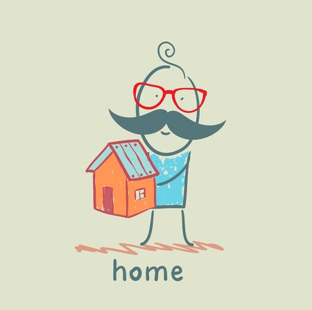 selling house: man holding a house