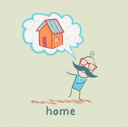 person thinks of house Ilustração