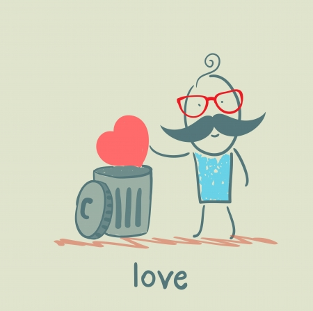 heterosexual: man throws the heart into the bin Illustration