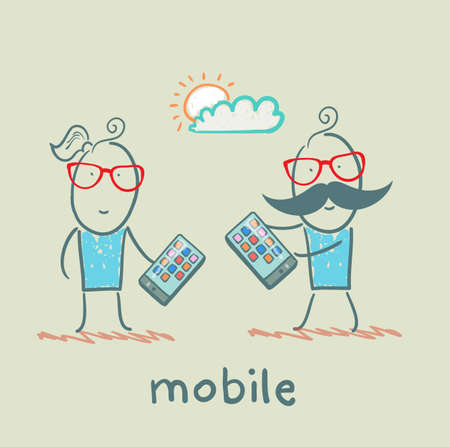 girl and boy with mobile phones