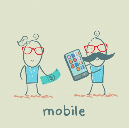 people selling mobile girl Ilustrace