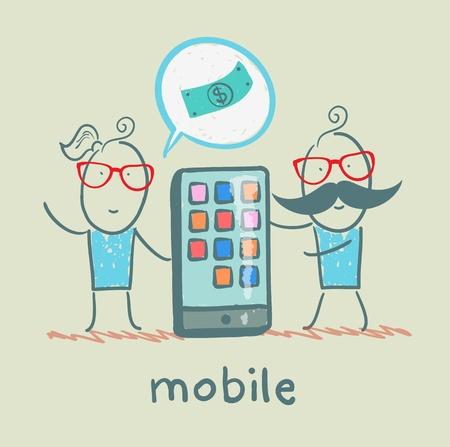 mobile cartoon: people selling mobile girl Illustration