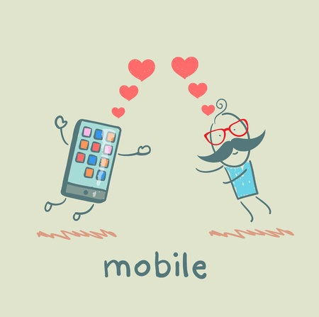 mobile cartoon: a man in love with mobile