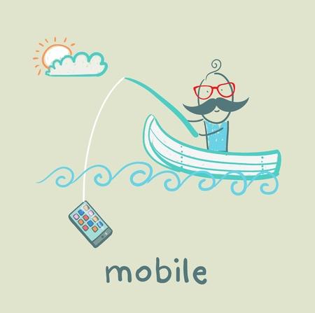 canna pesca: uomo nuoto in barca e una canna da pesca cattura telefono