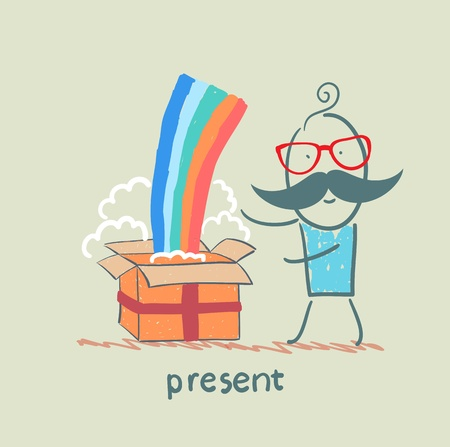 received: man received a gift with a rainbow Illustration