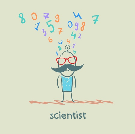 scientist thinks about numbers Stock Vector - 21716218