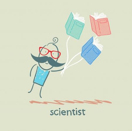 scientist flies with books Vector