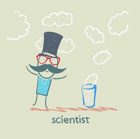 scientist conjures a glass and clouds Vector