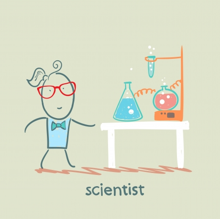 beakers: scientist with test tubes on the table