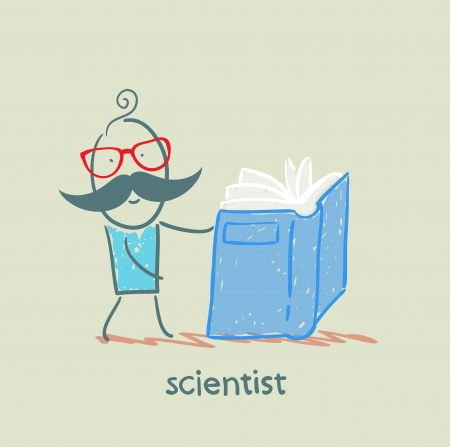scientist reading a book