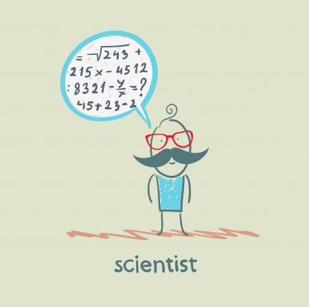 thinks: scientist thinks about the formula