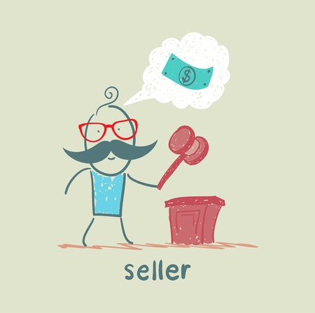 auction gavel: the seller at the auction with a hammer
