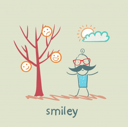 a man stands next to a tree on which grow smilies Stock Vector - 21716240