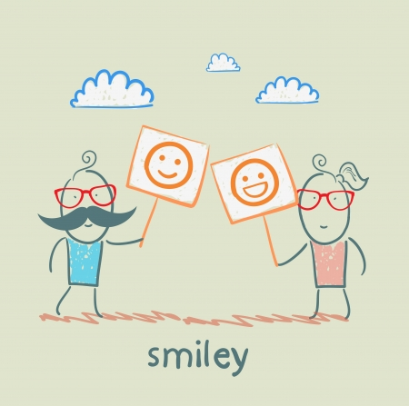 man and girl holding posters with fun emoticons Stock Vector - 21736666