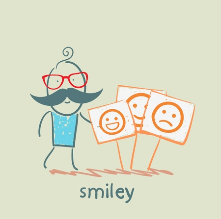 a man stands next to posters with smiles Vector