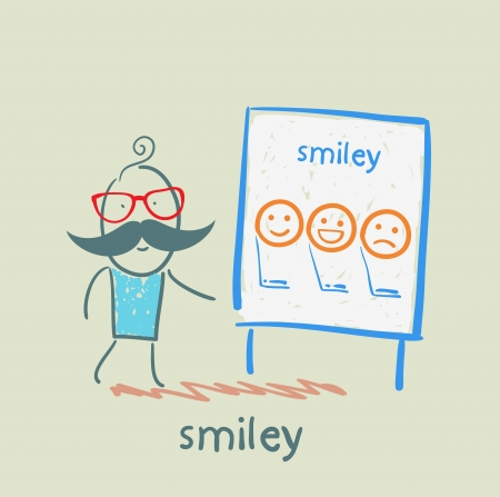 man showing a presentation with smiles Vector