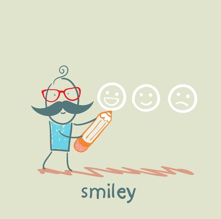 man with a pencil draws smiles Vector