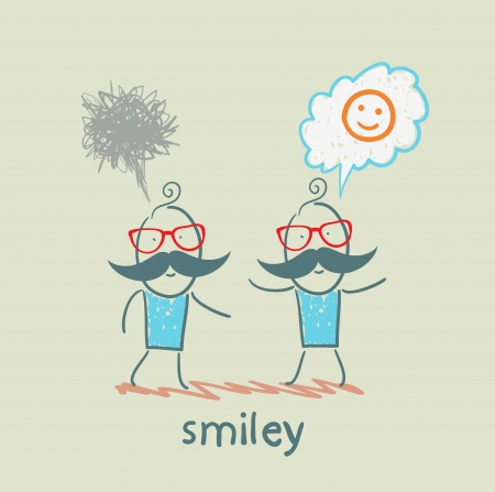 one thinks about smileys, the other person sad Vector