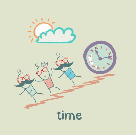 Hours are rolling from the mountain people Vector