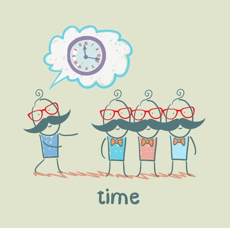 tells: man tells about the time Illustration