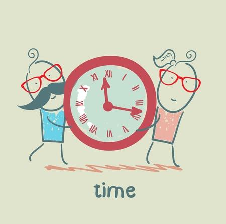 cartoon clock: people wear watches