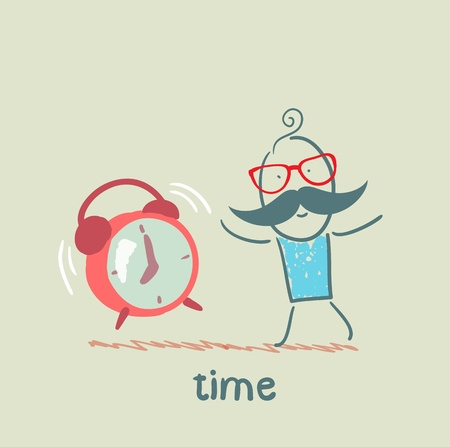 man with an alarm clock ringing Illustration