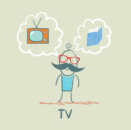 one thinks of the TV and book Stock Vector - 21736795