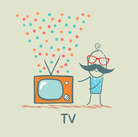 the man standing next to the best TV Stock Vector - 21736797