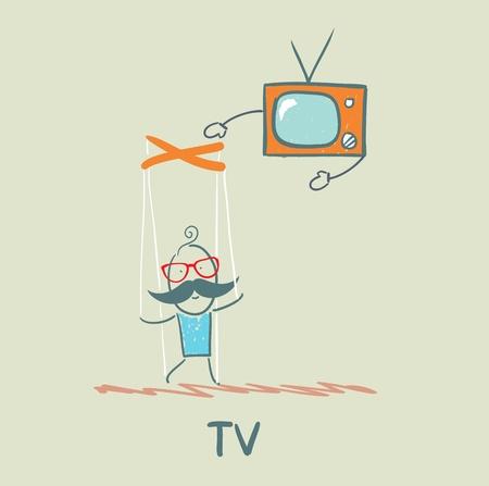 controls: TV controls the person Illustration