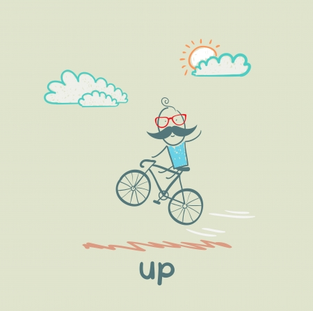 stimulus: man flying on a bicycle Illustration