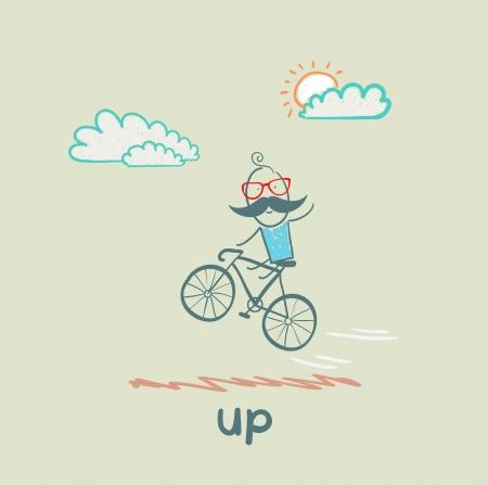 get up: uomo in volo su una bicicletta