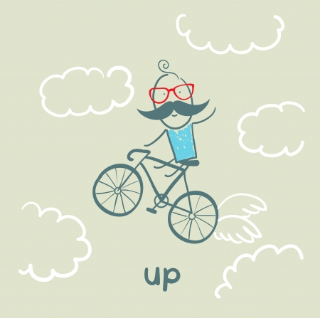 get up: man flying on a bicycle Illustration