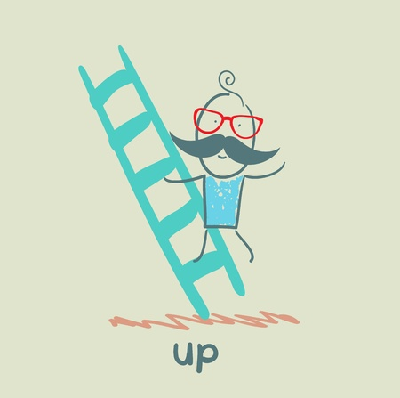 stimulus: man climbs the stairs