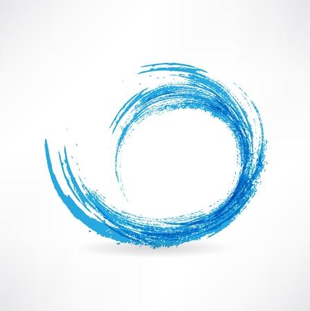 flowing water: Las olas del mar. Pintado con un pincel. Elemento de dise�o.