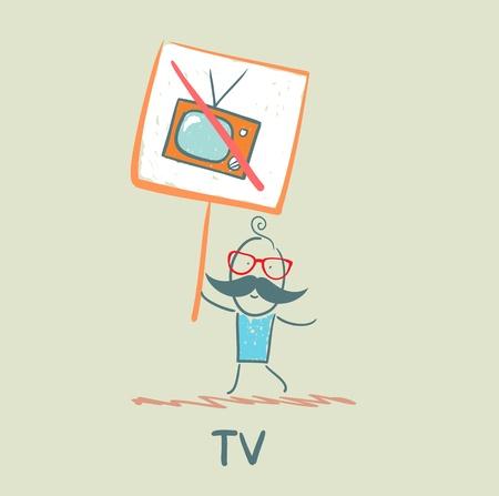 carries: uomo porta un manifesto che vieta TV