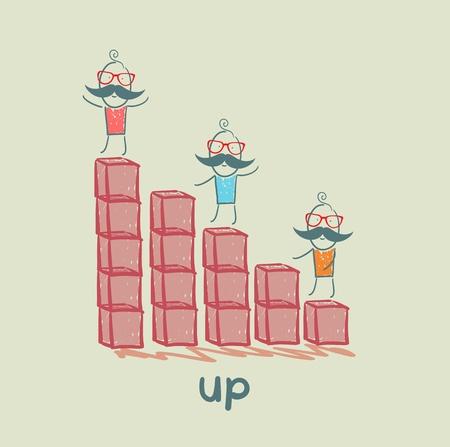 get up: le persone sono in piedi sul grafico Vettoriali